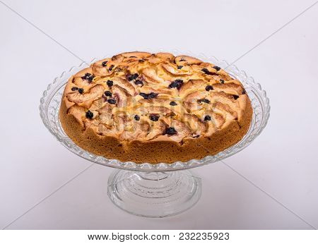 Close Up Of Freshly Baked Sweet Cake With Fruit
