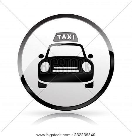 Illustration Of Taxi Icon On White Background