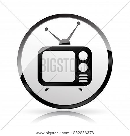 Illustration Of Television Icon On White Background
