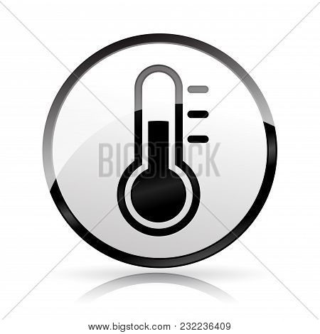 Illustration Of Thermometer Icon On White Background