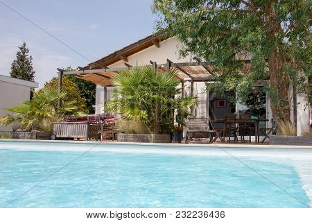 A Summer Beautiful Swimming Pool On Holidays