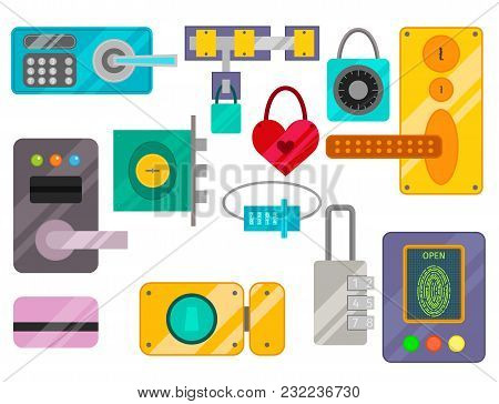 Different House Door Lock Icons Set Vector Safety Password Privacy Element With Key And Padlock, Pro