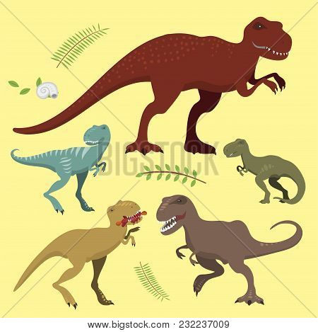 Cute And Scary Dinosaurs Vector Collection. Tyrannosaurus T-rex Danger Creature Force. Wild Jurassic