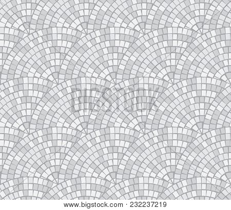 Abstract Mosaic Break By Row Seamless Pattern. Fragments Of A Circle Laid Out From A Mosaic Tiles Tr