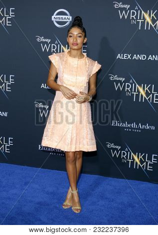 Yara Shahidi at the Los Angeles premiere of 'A Wrinkle In Time' held at the El Capitan Theater in Hollywood, USA on February 26, 2018.