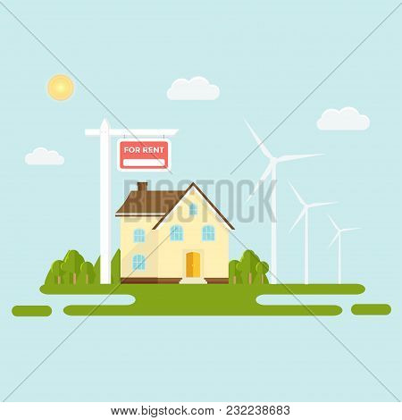 Banner For Sales, Advertising Eco Green House, Cottage With Trees. Offer Of Home Purchase. Rental Of