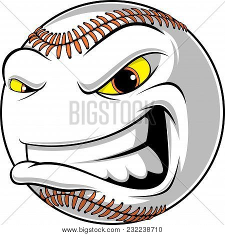 Vector Illustration, Baseball Ball, Cartoon, Angry, In Front Of White Background