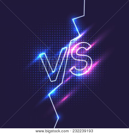 Bright Poster Symbols Of Confrontation Vs. Vector Illustration On Dark Background With A Trendy Mini