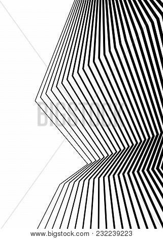 White Black Color. Linear Background. Design Elements. Poligonal Lines. Protective Layer For Banknot