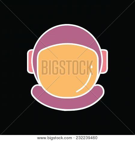 Astronaut Helmet Icon. Cartoon Astronaut Helmet Vector Icon For Web Design Isolated On Black Backgro