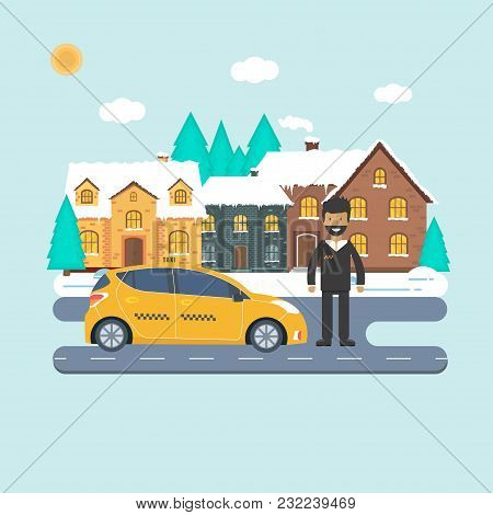 Machine Yellow Cab With Driver In The City. Public Taxi Service Concept. Flat Vector Illustration.