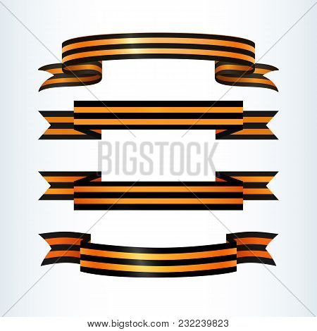 Set Of Wavy Striped Ribbons Of St. George Patriotic Military Symbol Celebrating May 9 Victory Day In