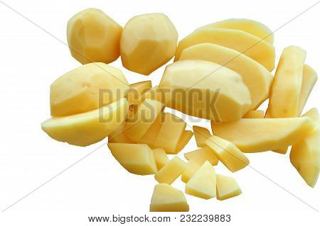 Cut Potatoes Into Slices, Cut Raw Potatoes For Soup, Cut Fresh Potatoes For Cooking