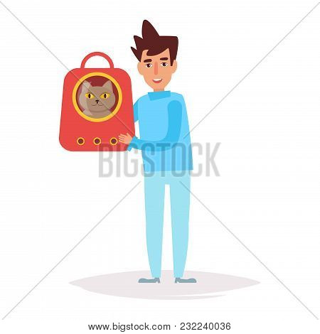 Veterinarian With A Pet. Vector. Cartoon. Isolated Art On White Background. Flat