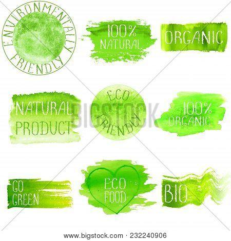 Green Watercolor Logo Design Template Set. Green Watercolour Hand Drawn Sign Label Emblem Poster Ban
