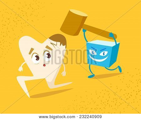 Tooth And Sugar. Vector. Cartoon Isolated Art Flat