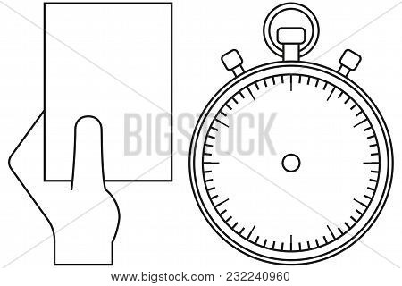 Line Art Black And White Sport Timer Referee Card Icon Set. Coloring Book Page For Adults And Kids.