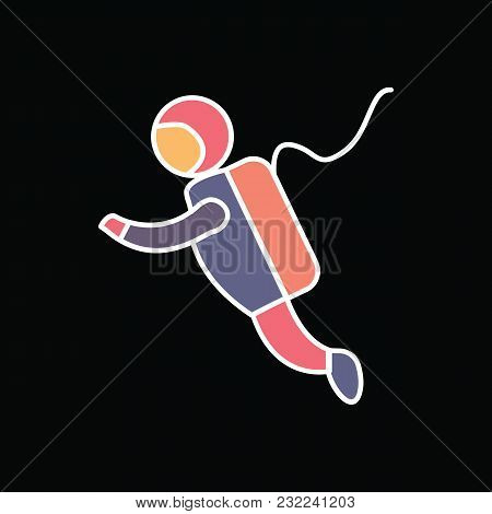 Astronaut Icon. Cartoon Astronaut Vector Icon For Web Design Isolated On Black Background