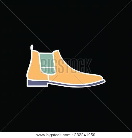 Boot Icon. Cartoon Male Hikki Boot Vector Icon For Web Design Isolated On Black Background