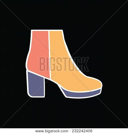 Hight Boot Icon. Cartoon Modern Female Hight Boot Vector Icon For Web Design Isolated On Black Backg