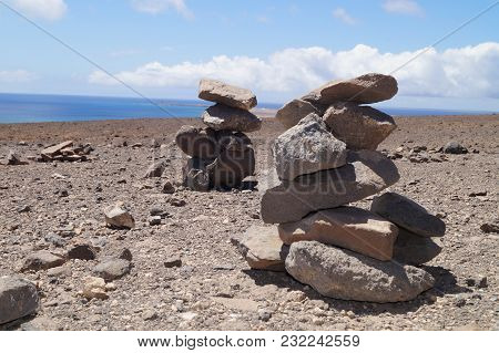 Cairn As Trail Marker Or To Protect Walker - Lucky Charms On Fuerteventura - The Legend Says That Th