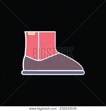 Hight Boot Icon. Cartoon Retro Hight Boot Vector Icon For Web Design Isolated On Black Background
