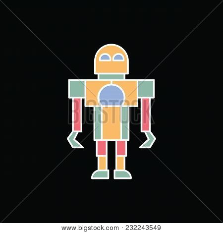 Robot Icon. Cartoon Robot Toy Vector Icon For Web Design Isolated On Black Background