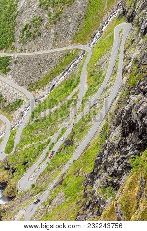 Trolls Path Trollstigen Or Trollstigveien Winding Scenic Mountain Road In Norway Europe