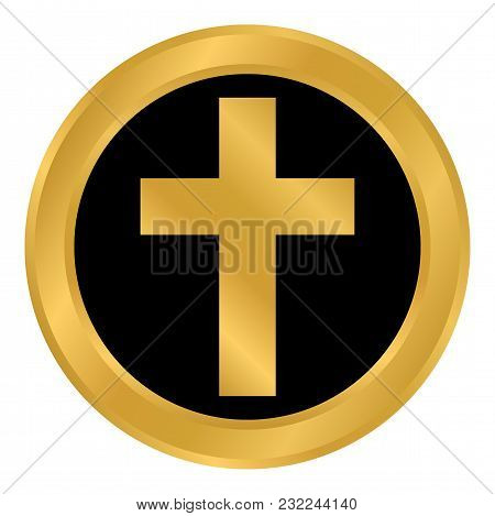 Religious Cross Button On White Background. Vector Illustration.