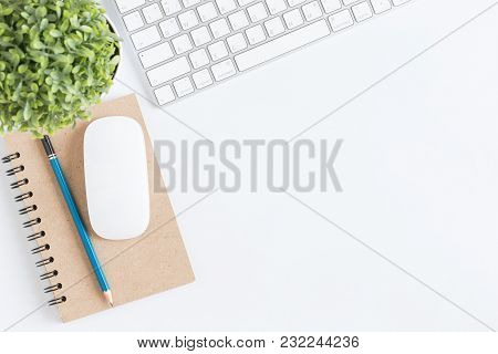 Flat Lay Photo Of Office Desk With Notebook And Keyboard,white Copy Space With Notebooks And Mouse,t