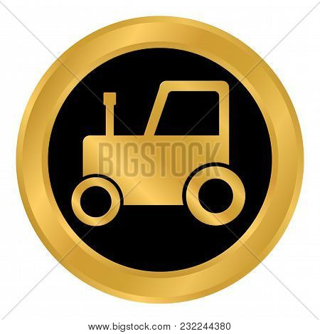 Tractor Button On White Background. Vector Illustration.