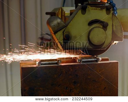 Close Up View Of Working Smoother Machine With Sparkles