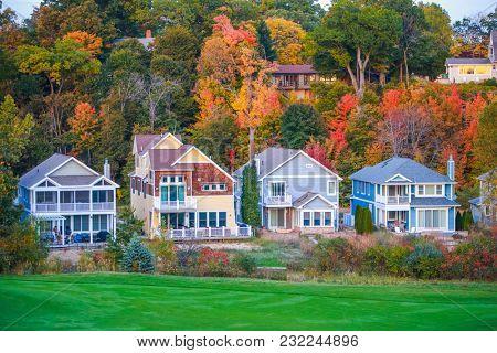 Row of vacation beach houses on a golf course