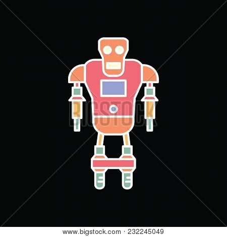Robot Icon. Cartoon Cyborg Robot Vector Icon For Web Design Isolated On Black Background