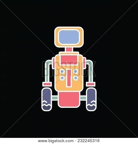 Robot Icon. Cartoon Futuristic Robot Vector Icon For Web Design Isolated On Black Background
