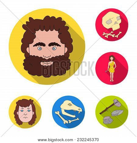 Life In The Stone Age Flat Icons In Set Collection For Design. Ancient People Vector Symbol Stock  I
