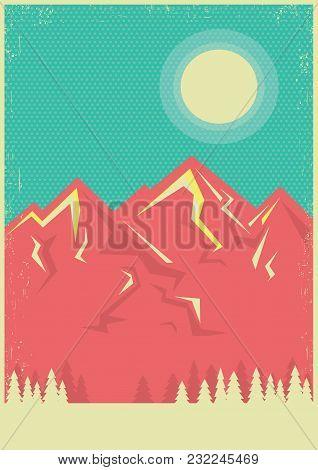 Mountains Landscape Poster Background For Text.vector Nature Landscape