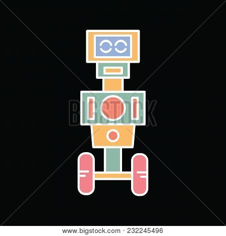 Robot Icon. Cartoon Mascot Robot Vector Icon For Web Design Isolated On Black Background