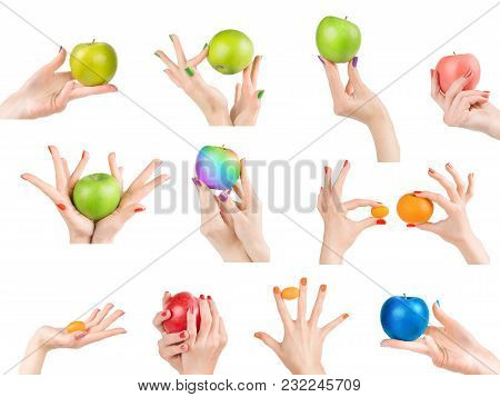 Woman Hands With Different Nail Polish And Fruits Set Isolated With Clipping Path