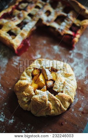 Pie With Peaches Of Round Shape Ready For Baking