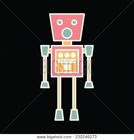 Robot Icon. Cartoon Space Robot Vector Icon For Web Design Isolated On Black Background