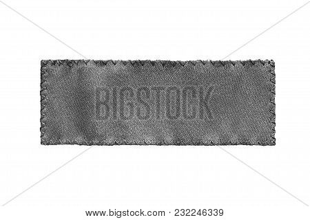 Blank Black Textile Clothes Label On White Background