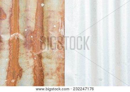 Galvanized Corrugated , Rusty Texture , Rust On Zinc Background