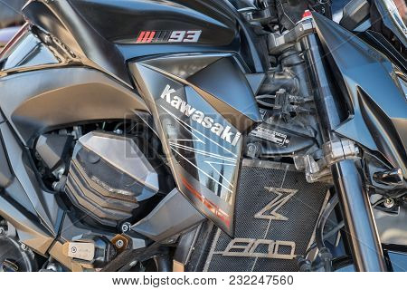 Beit Nir, Israel - March 17, 2018: Closeup Of Kawasaki Z800 Engine