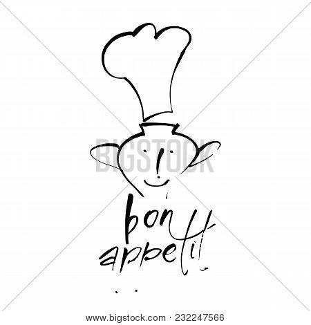 Bon Appetit. Logo For Restaurant.calligraphic Design Elements. Vector Illustration.