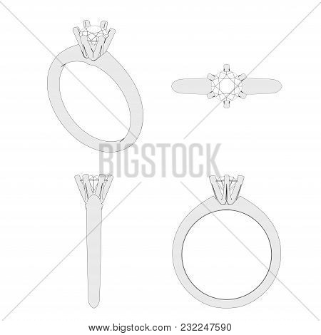 3d Illustration Isolated Four Different Angle Sketch Solitaire Ring With Diamond On A White Backgrou