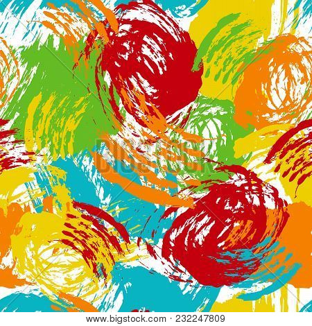 Vector Colorful Seamless Pattern With Brush Strokes And Dots. Green Blue Yellow Orange Color On Whit