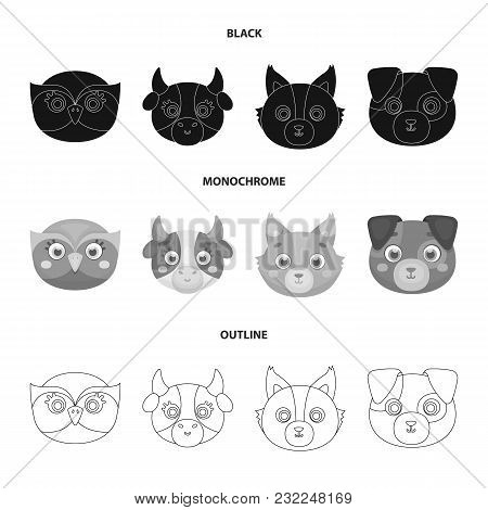 Owl, Cow, Wolf, Dog. Animal's Muzzle Set Collection Icons In Black,monochrome,outline Style Vector S