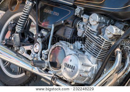 Beit Nir, Israel - March 17, 2018: Vintage Yamaha Xs 750 Dohc Motorbike Engene