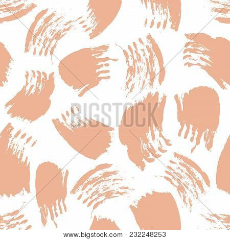 Vector Colorful Seamless Pattern With Brush Strokes And Dots. Pink Color On White Background. Hand P